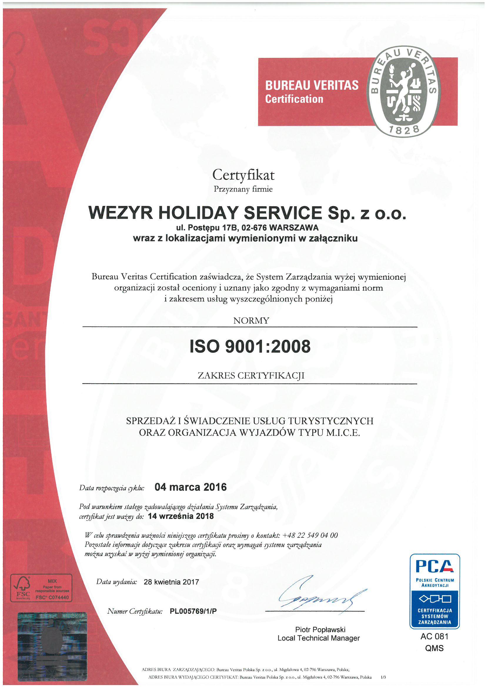 O nas dowiedz si wi cej o coral travel wezyr holidays for Bureau veritas polska